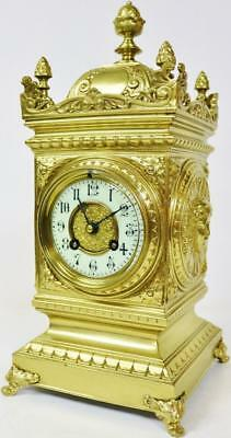 Antique Ornate Cubed French Bronze Ormolu Gong Striking Mantel Clock 8 Day C1880
