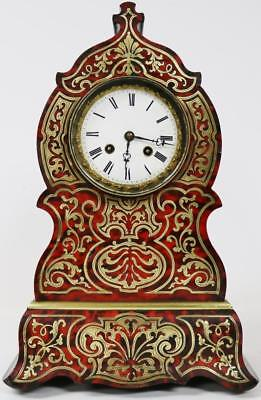 Marvellous Antique French Inlaid Boulle Shell & Brass 8Day Striking Mantel Clock