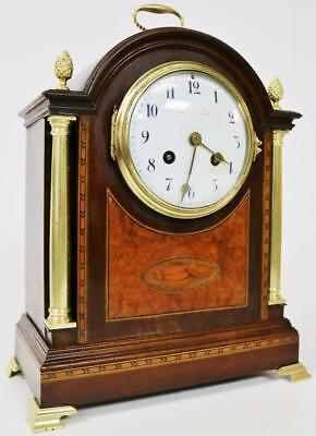 Antique French Inlaid Mahogany Striking 8 Day Mantel Desk Clock by Vincenti & Co