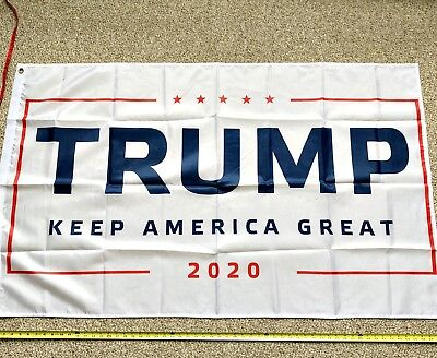 Donald Trump 2020 Flag WHITE ORIGINAL FREE SHIPPING 3x5 Foot Keep America Great