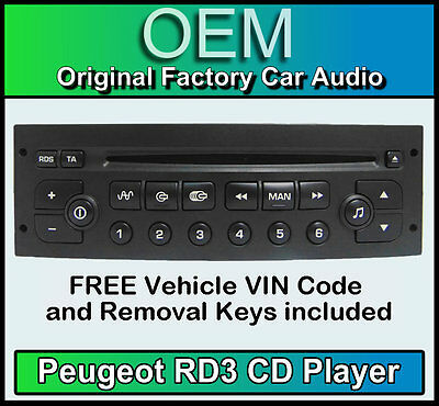 Peugeot 807 car stereo CD player Peugeot RD3 radio + FREE Vin Code and keys