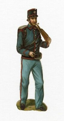 SOLDIER UNIFORM Victorian Die Cut 19th Century Rifle Gun