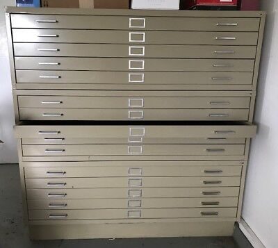 3 Flat Drawer Museum Cabinets and 1 Base from University Products