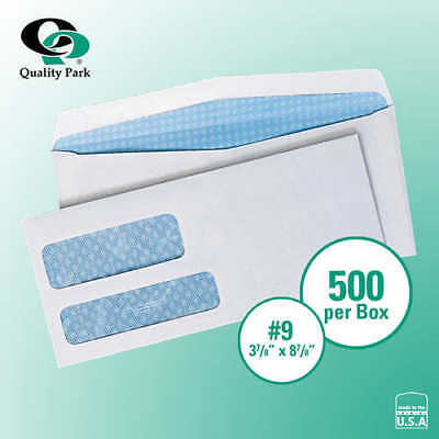 "Quality Park Security-Tint Double Window Envelope 3-7/8"" x 8-7/8"" White, 500-ct"