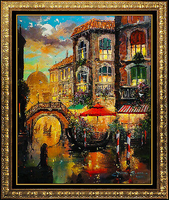 James Coleman Hand Embellished Giclee On Canvas Signed Large Venice Italian Art