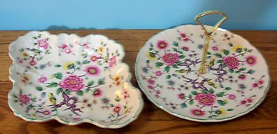 """James Kent Old Foley Chinese Rose  8.75"""" Tid Bit Dish And 10.75"""" X 8"""" Candy Dish"""