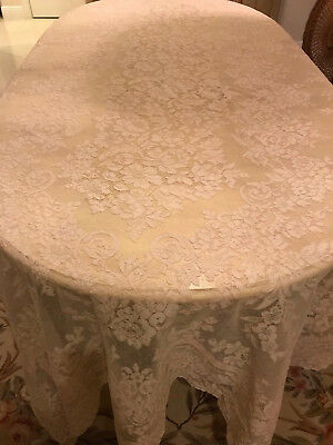 Vintage Antique French ALENCON Net LACE TABLECLOTH Flowers 64x122 Ecru