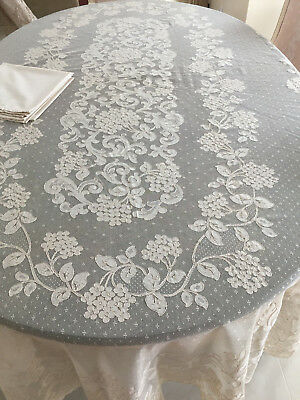 Vtg French ALENCON Net OVAL LACE TABLECLOTH Flowers Chantilly 68x104 Ecru/8 Napk