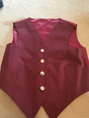 """Ponies On Patsde Waistcoat Wine 32"""" Chest Wine Horse Showing"""