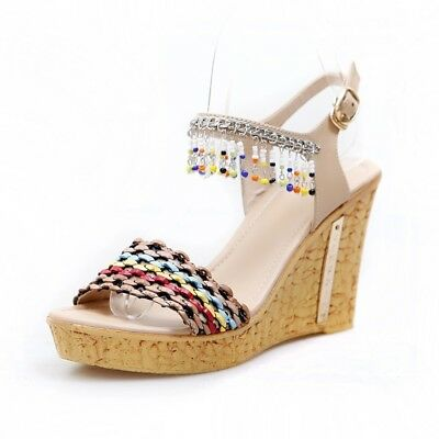96be7ede968 BOHEMIA FRINGES BEADS Chic Women Wedge Heels Sandals Platform Ankle Strap  Buckle -  46.99