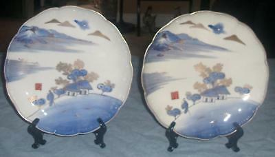 Pair of Japanese Hizen Antique Late Edo-Early Meiji Era  Low Bowls Marked Lovely