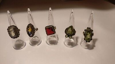 Lovely job lot of x5 various sterling silver rings (not scrap)