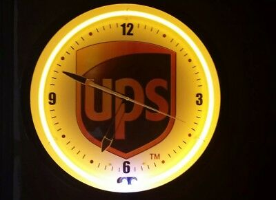 Large 20 Inch Neon Ups Clock Made In U.s.a. Near Perfect Electric United Parcel
