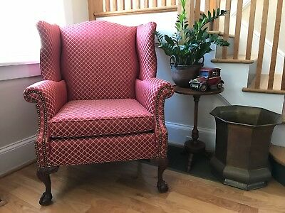 Vintage Chippendale Style Ball and Claw Fireside Wing Back Arm Chair