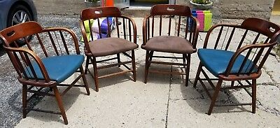 4 Reclaimed Vintage Wood Boling Chairs, NO 150, Dark Oak, SILER CITY, NC