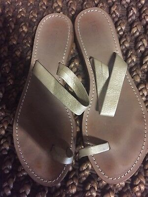 db135a076e3 J CREW GOLD Metallic Leather Double Strap Sandals 9 Made In Italy ...