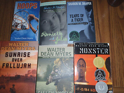 Lot Of 6 Books ~ All Novels  About African-American Teens - S. Draper & W. Myers