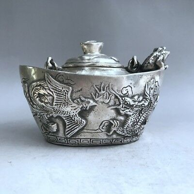 Ancient Chinese pure copper hand-carved animal pattern teapot