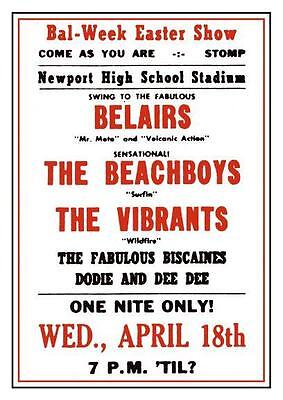 the Beach Boys  *LARGE POSTER*  Very Early Show 60's  - Surf Rock Brian Wilson