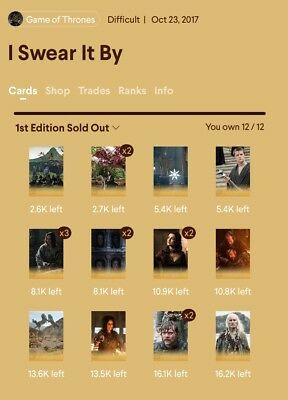 Quidd Gamecof Thrones I Swear It By Complete Card Set