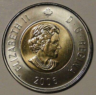 BU UNC Canada 2006 Toonie $2 Dollar Coin Date bottom Maple Leaf variety