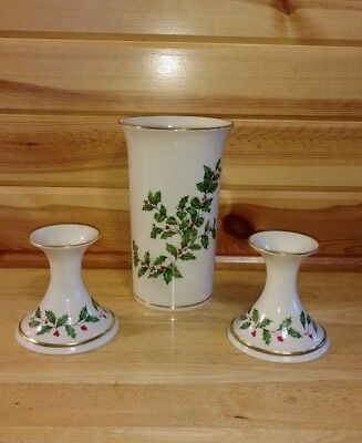 Lenox Christmas Holly Vase And Candle Stick Holders