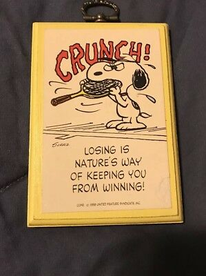 Vintage Hallmark Peanuts Snoopy Plaque Wall Cubical Tennis Picture Winner Losers
