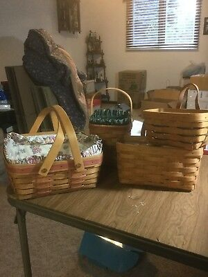 Lot of 4 Longaberger baskets some w/protectors & 2 liners