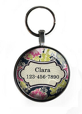 1 in floral new pet ID tag for small dogs custom personalized steel round cool!