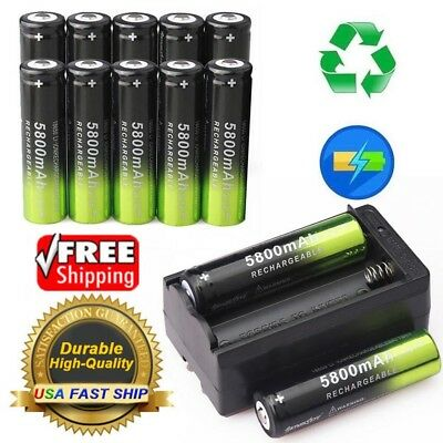 10PCS SKYWOLFEYE Rechargeable 5800mAh Li-ion 18650 3.7V Battery Smart Charger US