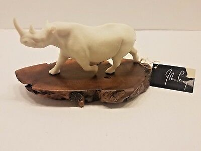 RHINO PELLUCIDA Sculpture John Perry 9in long Burl slab Statue