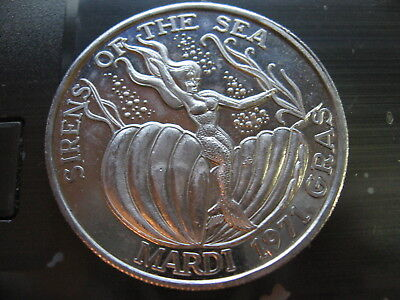 mermaid in giant clam shell Mardi Gras Doubloon new orleans vintage sale nola