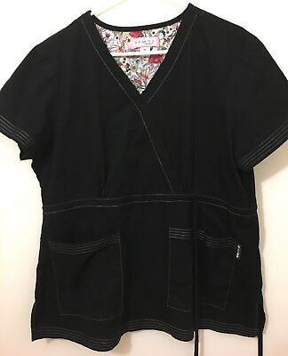 koi by Kathy Peterson Black Scrub Top - Women's Size Extra Large
