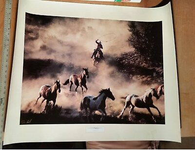 "THE LAST ROUNDUP- DON SCHIMMEL Western Photograph Poster Print 1993 27X34"" Horse"