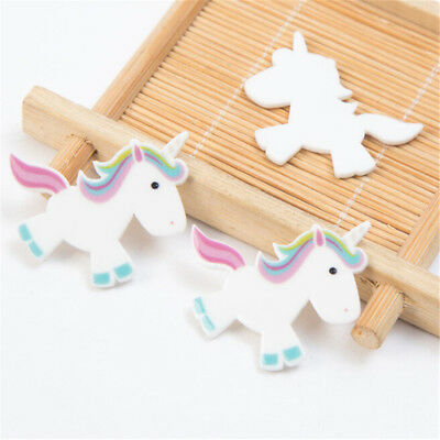 5pcs Rainbow Unicorn Flat Back Resin Cabochon DIY Craft Embellishment Decor HT