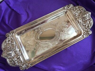 Ornate Small Silverplate Viners Tray