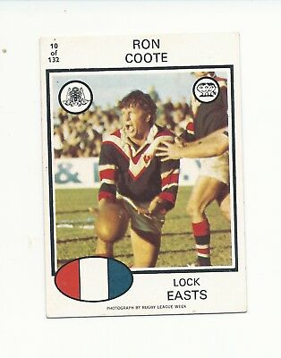 No10 1975 Scanlens Rugby League Ron Coote Easts Roosters