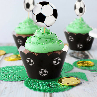 24PCS/Set Soccer Cake Cupcake Toppers & Wrappers Baby Kids Birthday Party Decor