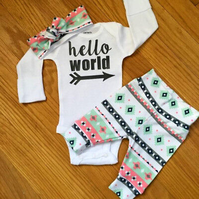 UK Newborn Baby Girl Boy Kids Bodysuit Romper Pants Headband Outfits Clothes Set