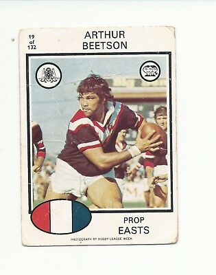 No19 1975 Scanlens Rugby League Arthur Beetson Easts Roosters