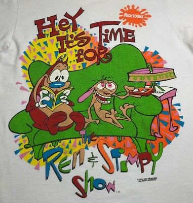 VTG Original 1991 Nickelodeon It's Time For REN & STIMPY T Shirt Rare! FLAWS