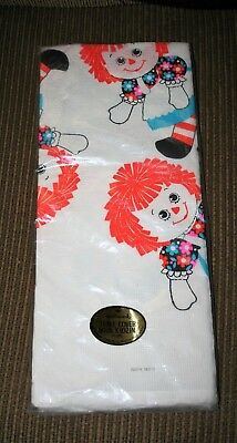 "Vtg Raggedy Ann Paper tablecloth Hallmark 60"" x 102"" NWT in original package"
