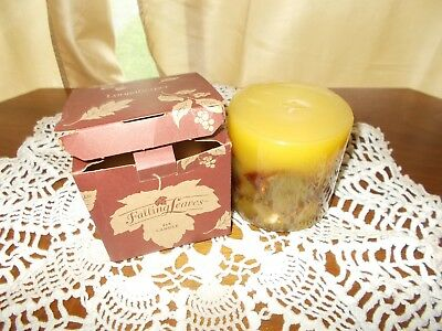 Longaberger Fallen Leaves Orange Spice Pillar Candle - 4 X 4 NEW