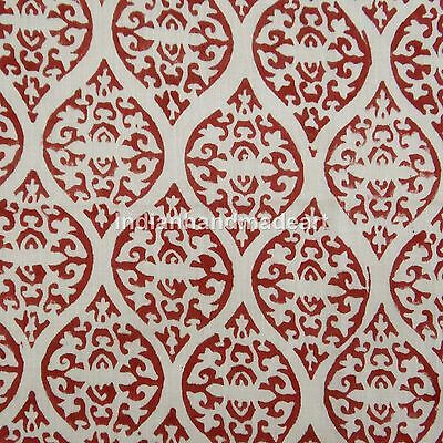 2.5 Yard Decorative Hand Block Print Indian Sanganeri 100% Cotton Natural Fabric