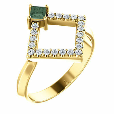 Chatham® Created Alexandrite & 1/5 CTW Diamond Geometric Ring In 14K Yellow Gold