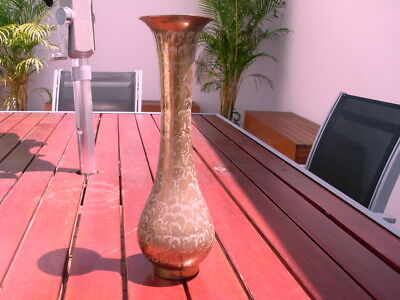 BRASS VASE with ETCHED PATTERNS - 30cm high