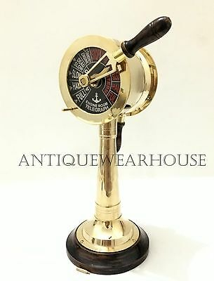 Collectible Shiny Brass Nautical Telegraph With Wooden Base Vintage Decorative