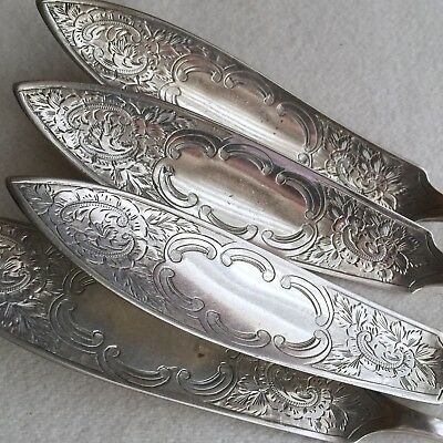 SET of 4X ANTIQUE Silver PLATE Hand CHASED Engraved FISH Knives ~ JS & S EP
