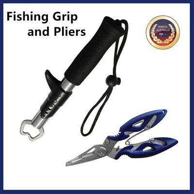 Stainless Steel Fishing Grip + Pliers Fish Lip Gripper Fishing Tackle Tool AZ