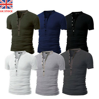 UK Men Slim Fit V Neck Short Sleeve Muscle Tee T-shirt Button Casual Top Blouse